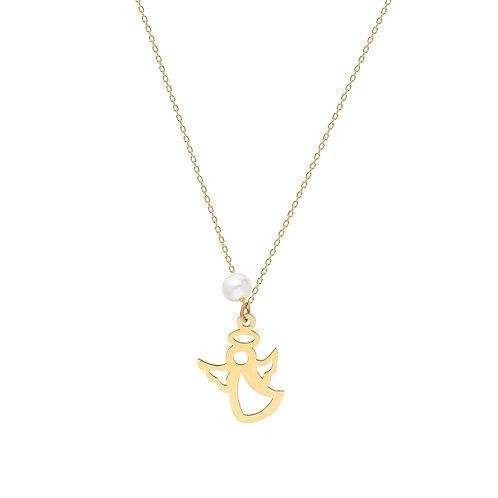 Gold Angel Pearl Halskette