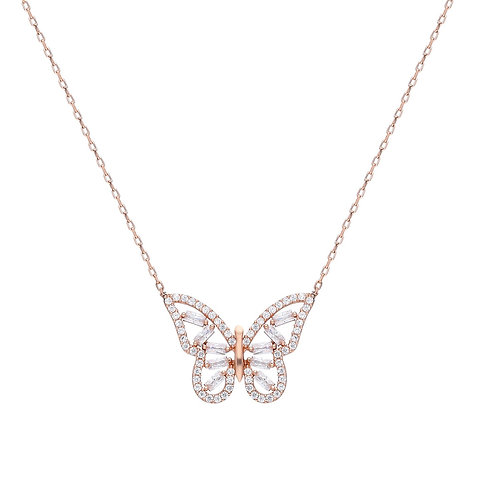 Silber Butterfly Baget Halskette