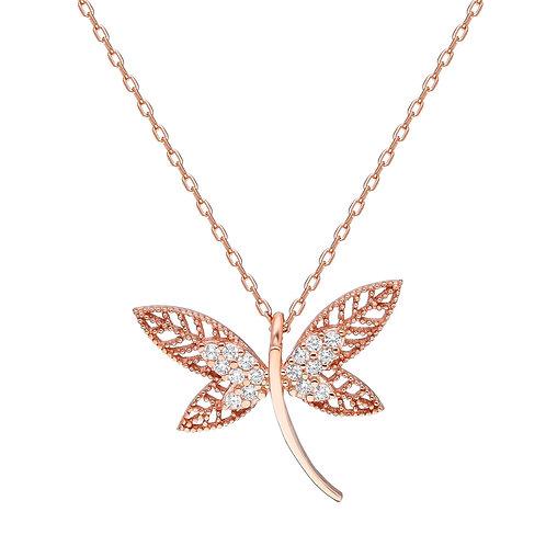 Silver Dragonfly Halskette