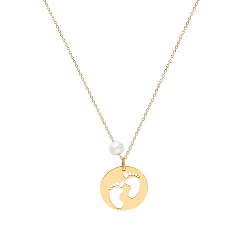 Gold Footprint Pearl Halskette