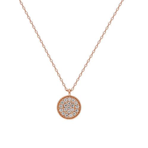 Silber Round Rosé Halskette