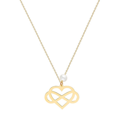 Gold Infinity Heart Pearl Necklace