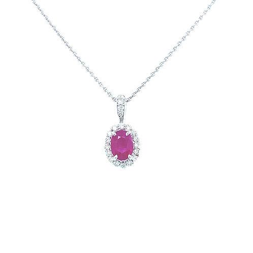 Ruby Halo Oval Necklace