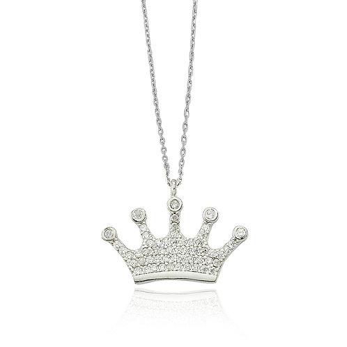 Silber Crown Halskette