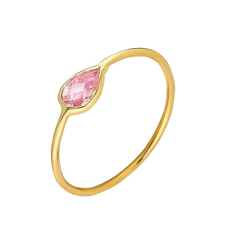 Ring Gold Pink Pave Drop