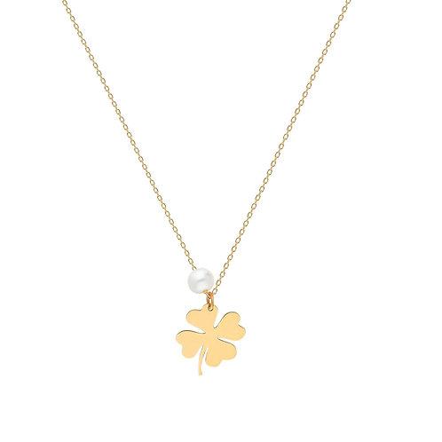 Gold Clover Pearl Halskette