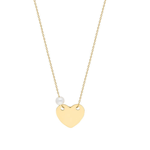 Gold Heart Pearl Halskette