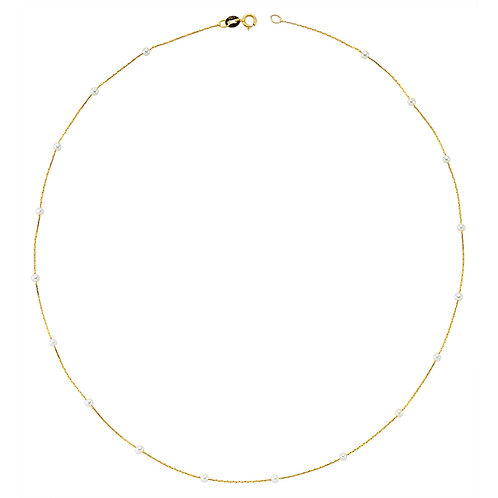 Gold Pearl  Pave Necklace