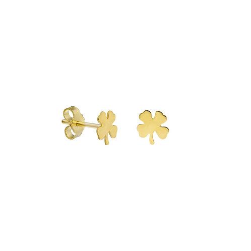 Gold Clover Stud Earrings