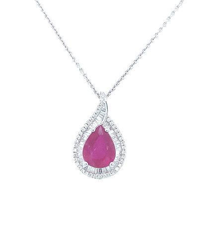 Pear Rubin Necklace