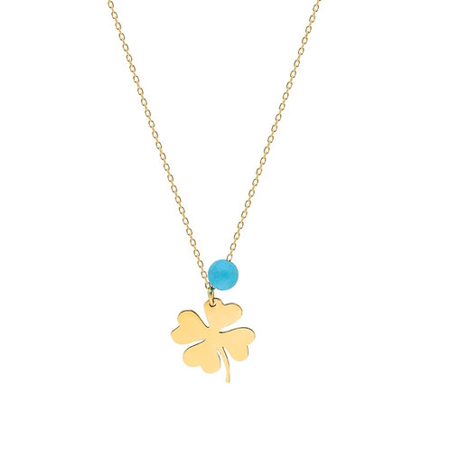 Gold Clover Turquoise Necklace
