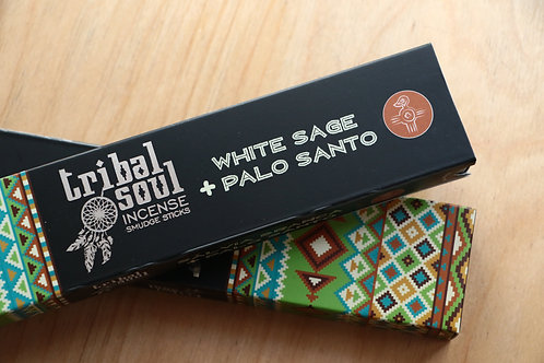 Incenso Salvia Branca e Pau Santo Tribal Soul 15g