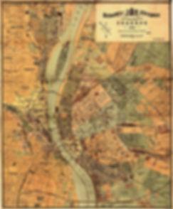 Gammal karta över Budapest