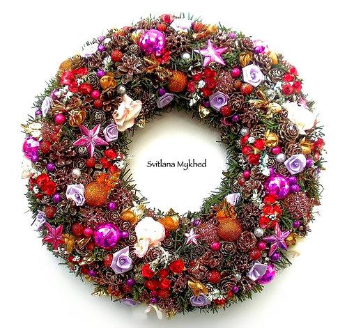 Couronne décorative de l'Avent Noel décoration mural fête deco haute gamme artisanal