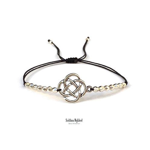 Bracelet personnalisé motif Noeud Celtique Celtic Perles tibétaines Cordon satin bijoux ethniques homme femme enfant