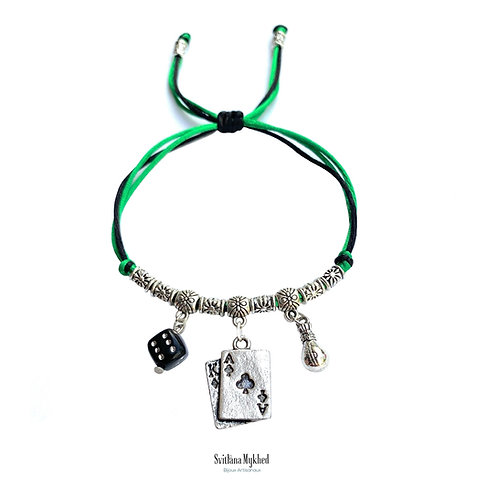 Bracelet personnalisable Jeux De Cartes Casino Jackpot Machine À Sous Poker Bingo Les Dés Perles tibétaines. Cordon satin