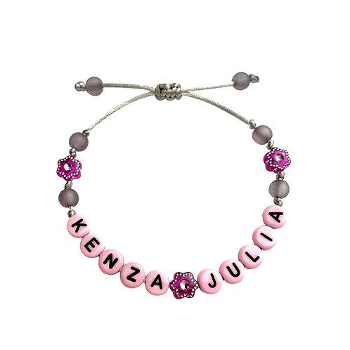Bracelet personnalisé KENZA JULIA avec prénoms nom message  création sur mesure