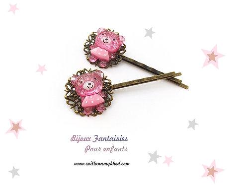 pinces barrettes à cheveux pour petites filles NOUNOURS ROSE violet métal bronze (filigranes)