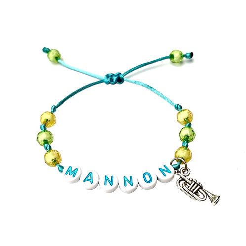 Bracelet personnalisé MANNON TROMPETTE MUSIQUE MELODIE CORN avec prénoms nom message pour musiciens, compositeur