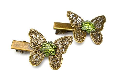 jolie Barrette pince filigrane à cheveux papillon incrusté vert