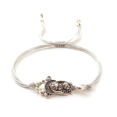 Bracelet thème croyance orthodoxe catholique JESUS. MARIE VIERGE cordon satin