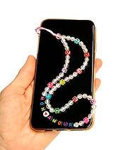 Bijoux cordon jolies perles accessoire pour Téléphone Personnalisé avec message ou prénom