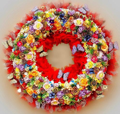Deco luxe exclusif haute gamme Couronne Composition Florale murale cérémonie mariage fête anniversaire fiancé qualité