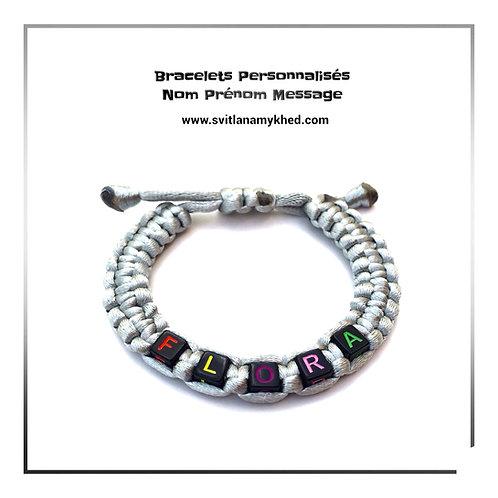 Bracelet FLORA cordon personnalisé tressé lettre Alphabet perle cube bijoux homme femme enfant