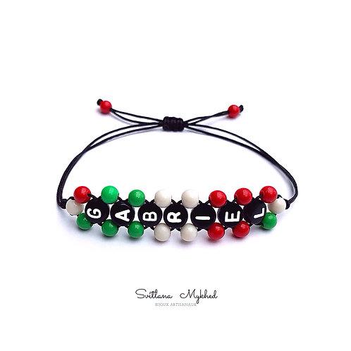 Bracelet à personnaliser GABRIEL couleur drapeau ITALIE avec prénom message texte