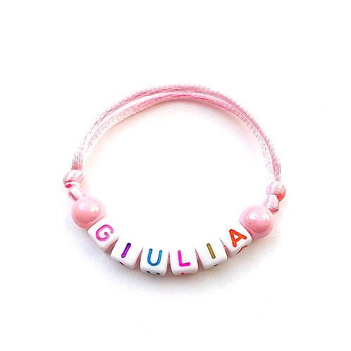 bracelet GIULIA personnalisé nom prénom name message lettre Alphabet cube carré