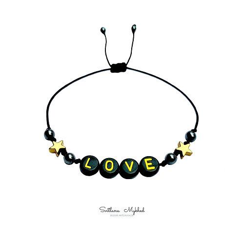 Bracelet LOVE ÉTOILE en pierre naturelle Hématite avec prénom message text