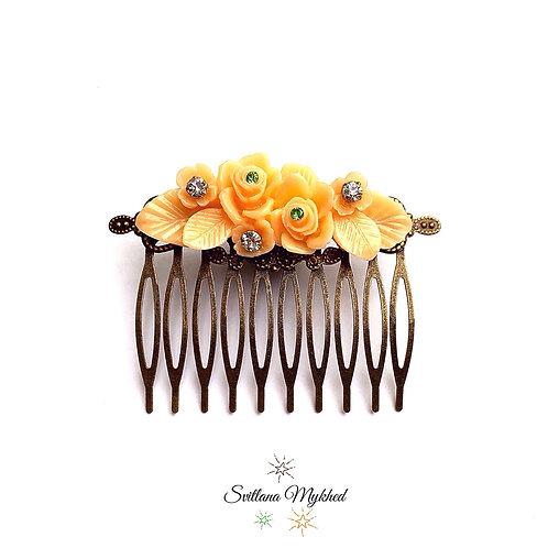 Accessoire coiffure cheveux fête mariage peigne à cheveux Fleurs d'Amour; métal bronze (filigranes)