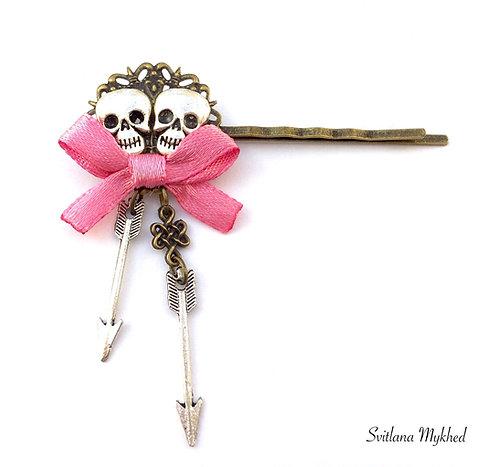 pinces barrettes filigranes à cheveux style rock gothique rose tête de mort scull Accessoires coiffure cheveux femme fille