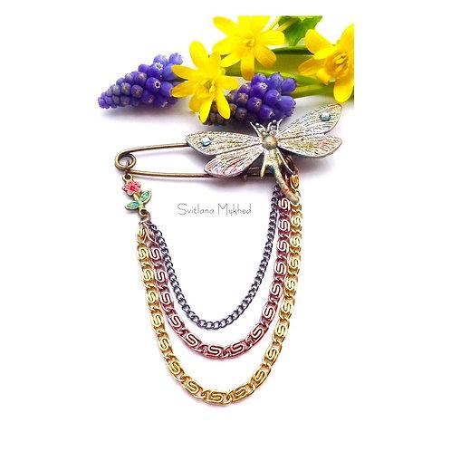 Broche pin's fibule Libellule Fleur bronze style rétro avec chaine haute gamme bijoux fantaisie artisanaux