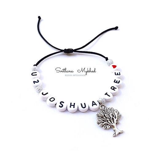 Bracelet personnalisé JOSHUA ARBRE TREE avec prénoms nom message  création sur mesure