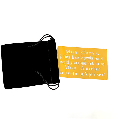 Carte métal personnalisé à graver avec Texte, Message, Prénom Remerciements, Excuses, Invitation, communion baptême fete