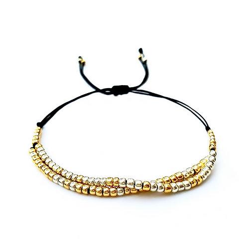 Bracelet à personnaliser TAIDIAN TOHO Perles rondes japonaises en verre 3mm, finition dorée argentée galvanisée