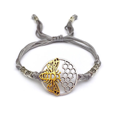 acheter Cadeau Bracelet pour apiculteur ABEILLE. MIEL. RUSH. NID D'ABEILLE. INSECTE métal argenté et doré. Perles tibétaines