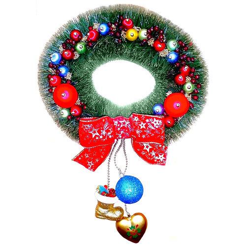Couronne porte d'entrée d'Avent Noel . CHRISTMAS. NOUVELLE ANNÉE. SAPIN. DÉCORATION NOEL
