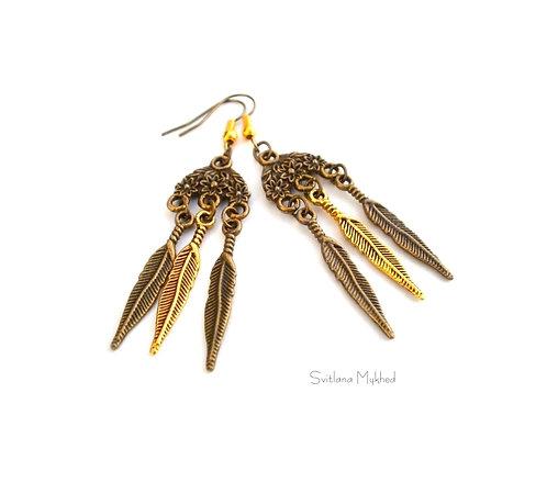 Boucles d'oreilles fantaisies Fleurs et Plumes Tibétaines bronze et doré