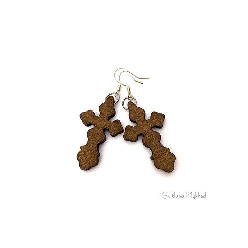 Boucles d'oreilles Croix Bois Rustique. Jesus. Croyance. Dieu. Eglise bijoux thèmes catholiques orthodoxes