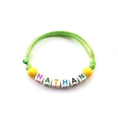 bracelet NATHAN personnalisé nom prénom name message lettre Alphabet cube carré