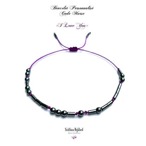 Bracelet CODE MORSE I LOVE YOU Pierre Naturelle Hématite noir réversible ajustable réglable avec prénom, texte, log