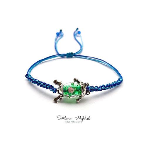 Bracelet à personnaliser amulette porte bonheur Perle Murano GRENOUILLE. FROG. CRAPAUD. MARAIS. COASSEMENT