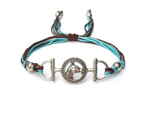 Bracelet cordon bleu marron pour homme original équitation HORSE. TETE de CHEVAL. AU GALOP. MORS À CHEVAL. CRINS. CAVALIER