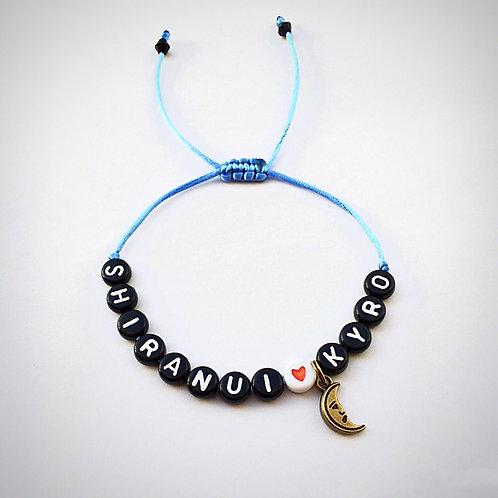 Bracelet personnalisé SHIRANUI KYRO LUNE COEUR avec prénoms nom message  création sur mesure