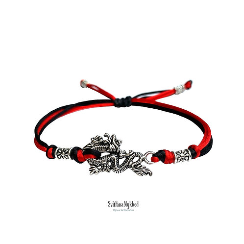Bracelet gothique asiatique celtique style personnalisé DRAGON VIKING FORCE JAPAN JAPON perles tibétaines. Cordon en satin