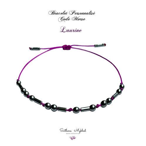 Bracelet personnalisé CODE MORSE Pierre Naturelle Hématite noir réversible ajustable réglable avec prénom, texte, log