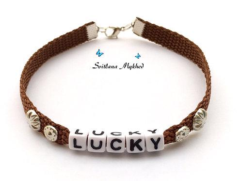 Accessoire animal collier LUCKY bijou personnalisable pour chat chien avec message surnom prénom