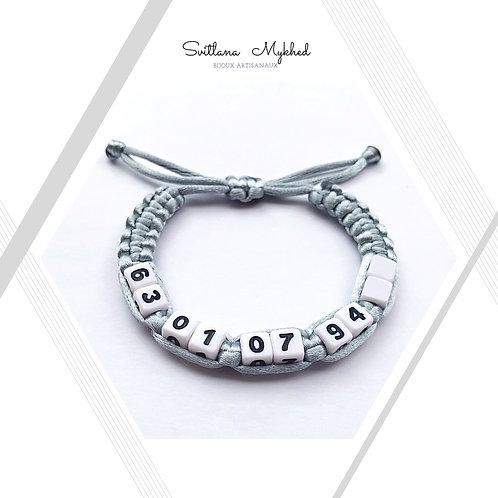 Bracelet tressé personnalisé avec Numéro téléphone
